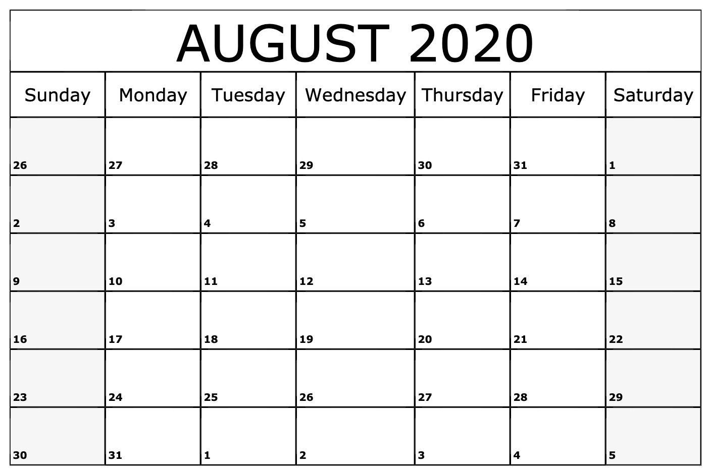 August 2020 Calendar Word Editable Calendar June Calendar Printable Calendar Printables