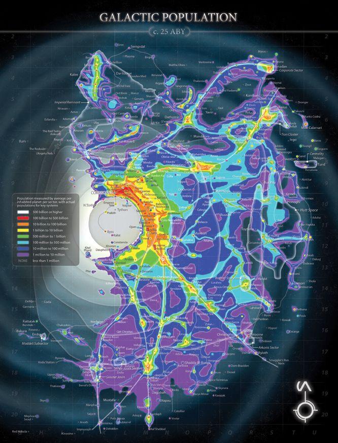 Galactic Population Map Cartography Pinterest Starwars - Star wars old republic us map