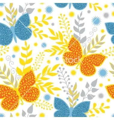 Vibrant blue and orange butterflies vector 4489755 - by Oksancia on VectorStock®