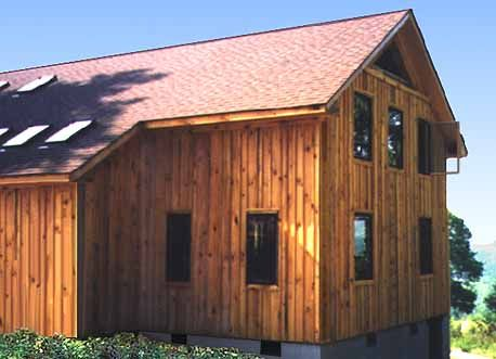 Vertical Wood Siding Add A Horizontal Piece To Divide The Two Levels Plywood Siding Wood Siding House Vertical