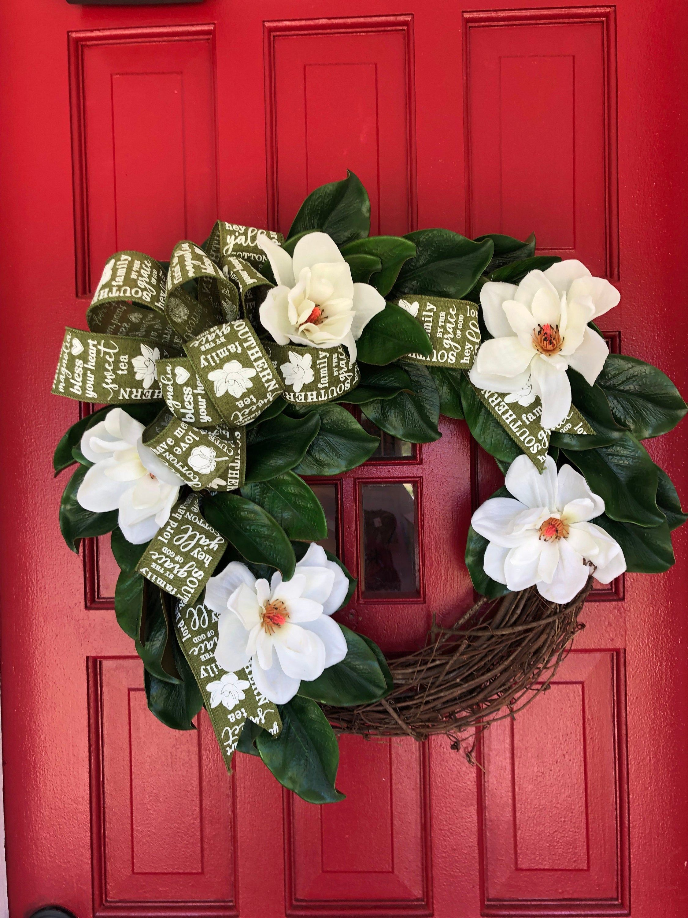 Photo of Southern magnolia wreath for front door, year-round wreath, inauguration wreath, classic magnolia wreath, peasant wreath