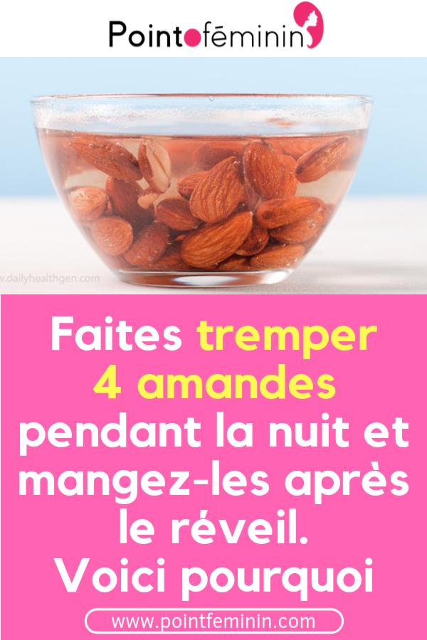Faites tremper 4 amandes pendant la nuit et mangez-les