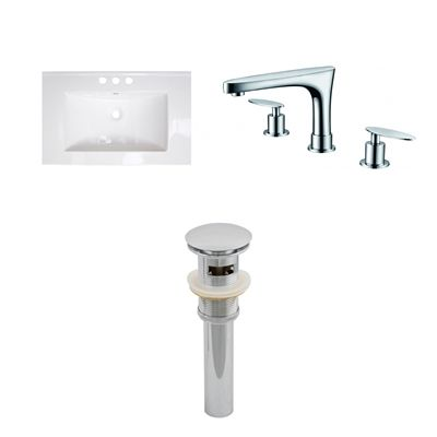 American Imaginations AI-16699 Roxy 30-in W x 18.5-in D Ceramic Top Set With 8-in o.c. CUPC Faucet And Drain