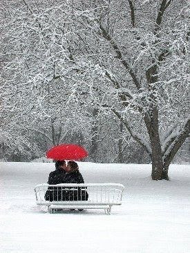 love how the #red #umbrella pops in the #snow