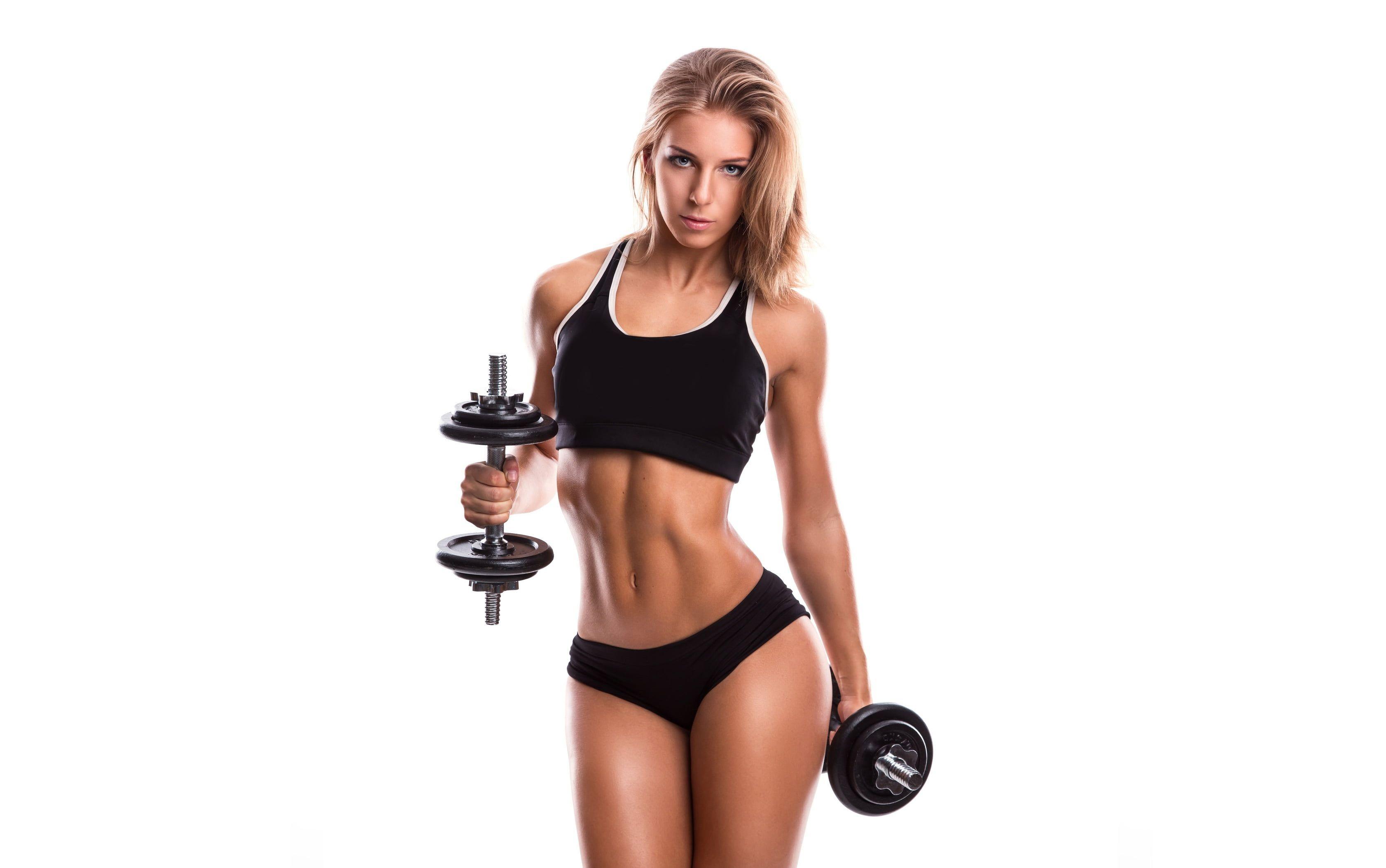 women's black sport bra #girl #face #hair #body #figure #sports #fitness #dumbbells #2K #wallpaper #...