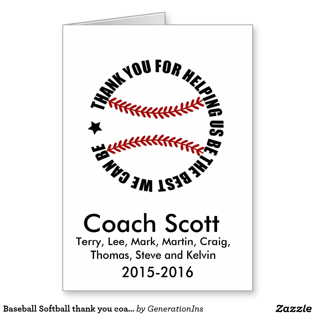 Baseball Softball Thank You Coach Card  Ideas  Gifts For
