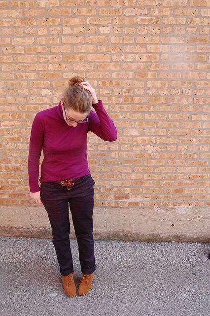 fuchsia turtleneck, navy pants, desert wedges