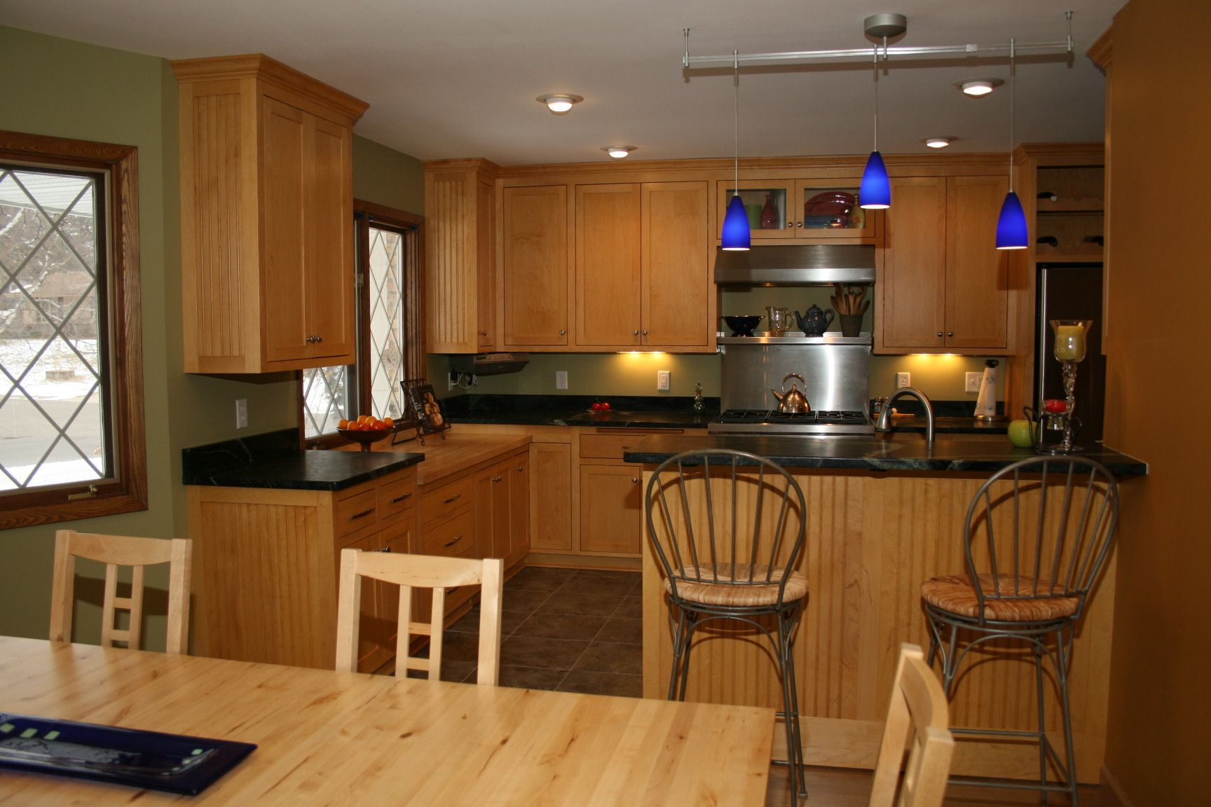 Kitchens With Black Granite Counter Tops And Maple ... on Maple Cabinets With Black Granite Countertops  id=98929