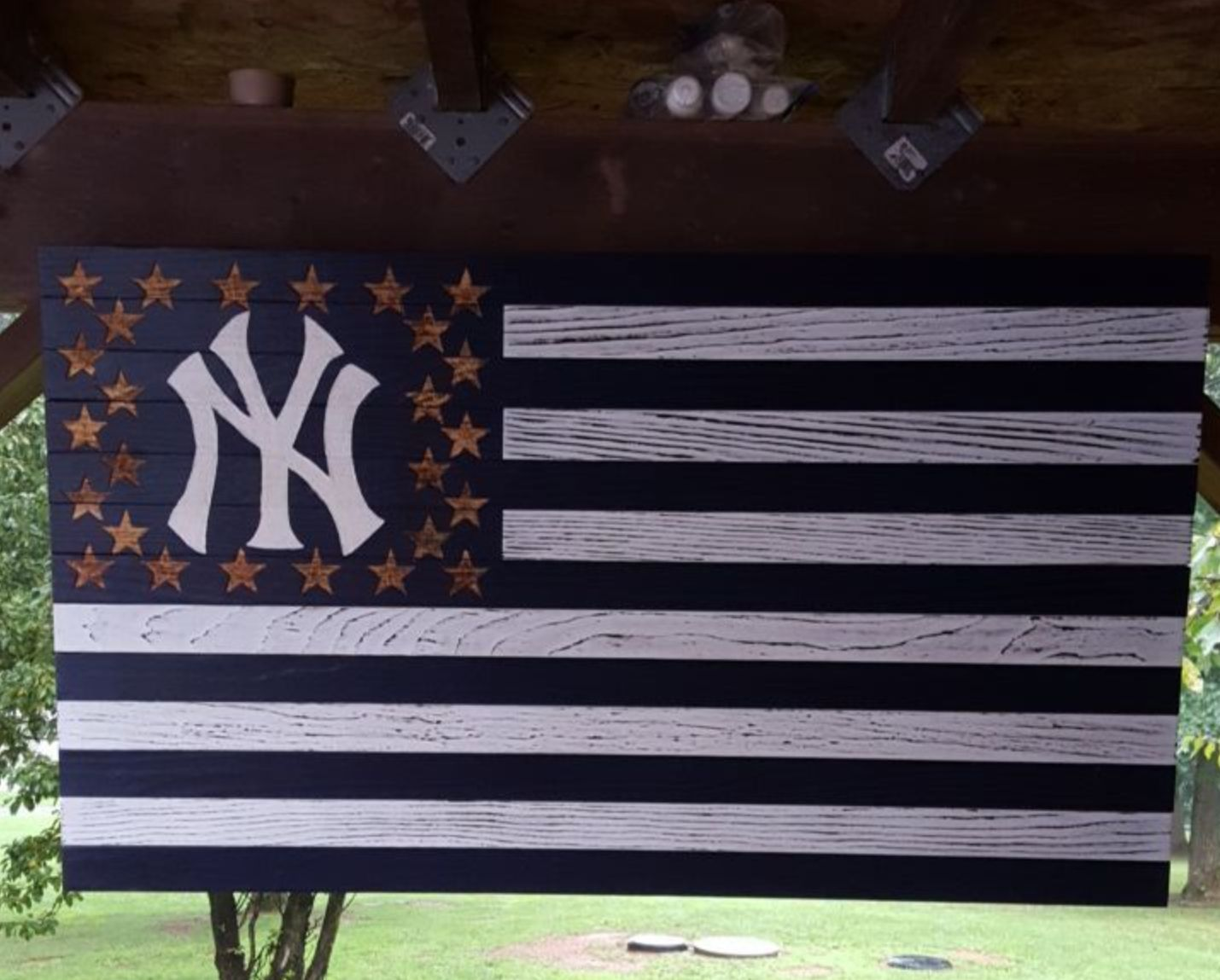 Handmade From Pine Board New York Yankees Rustic American Flag Measures Approximately 22x40 And Is Ready To Ha Rustic American Flag Hand Carved Hand Painted