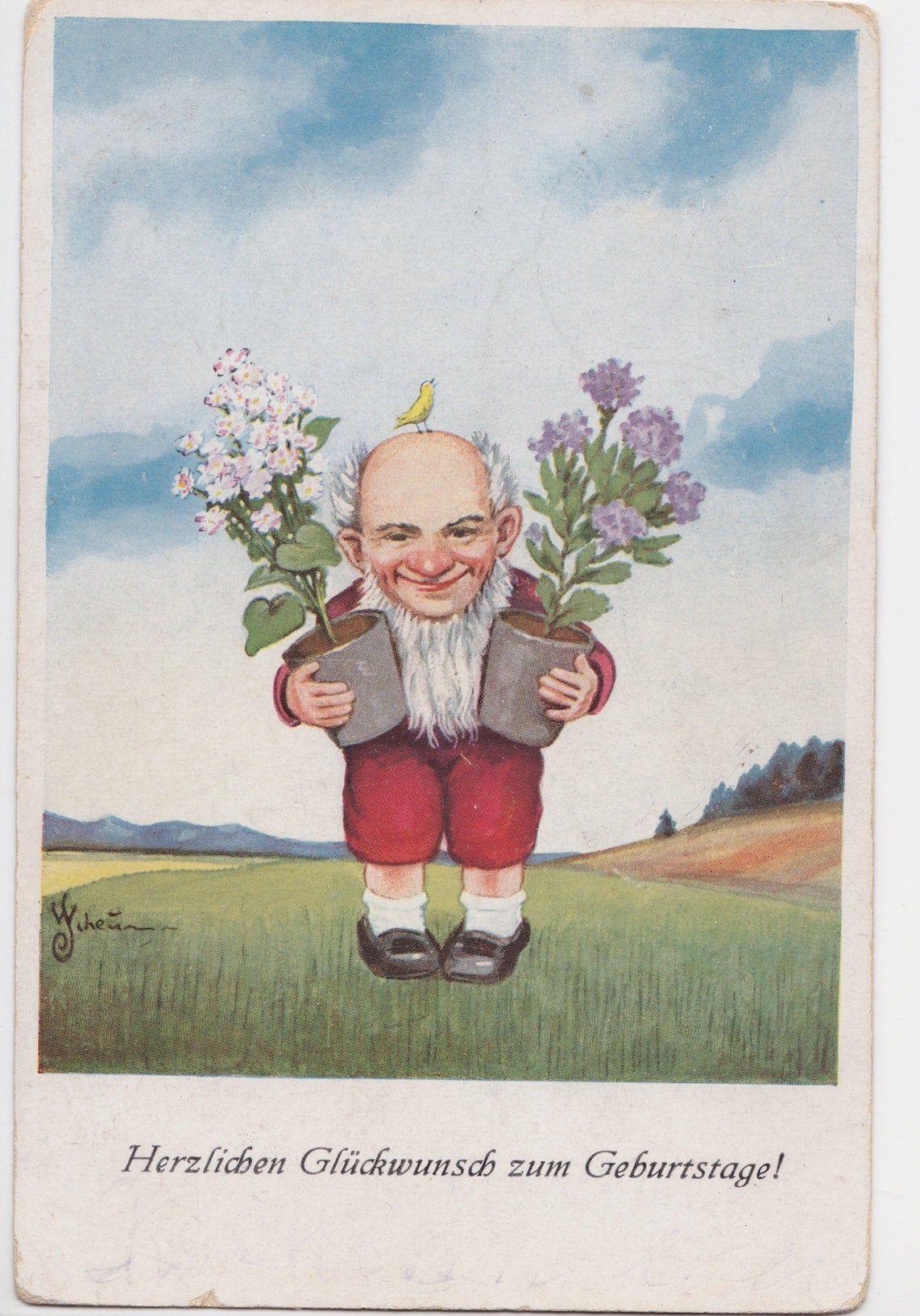 Written On Vintage German Birthday Postcard 1930 Birthday Postcards Vintage German Postcard