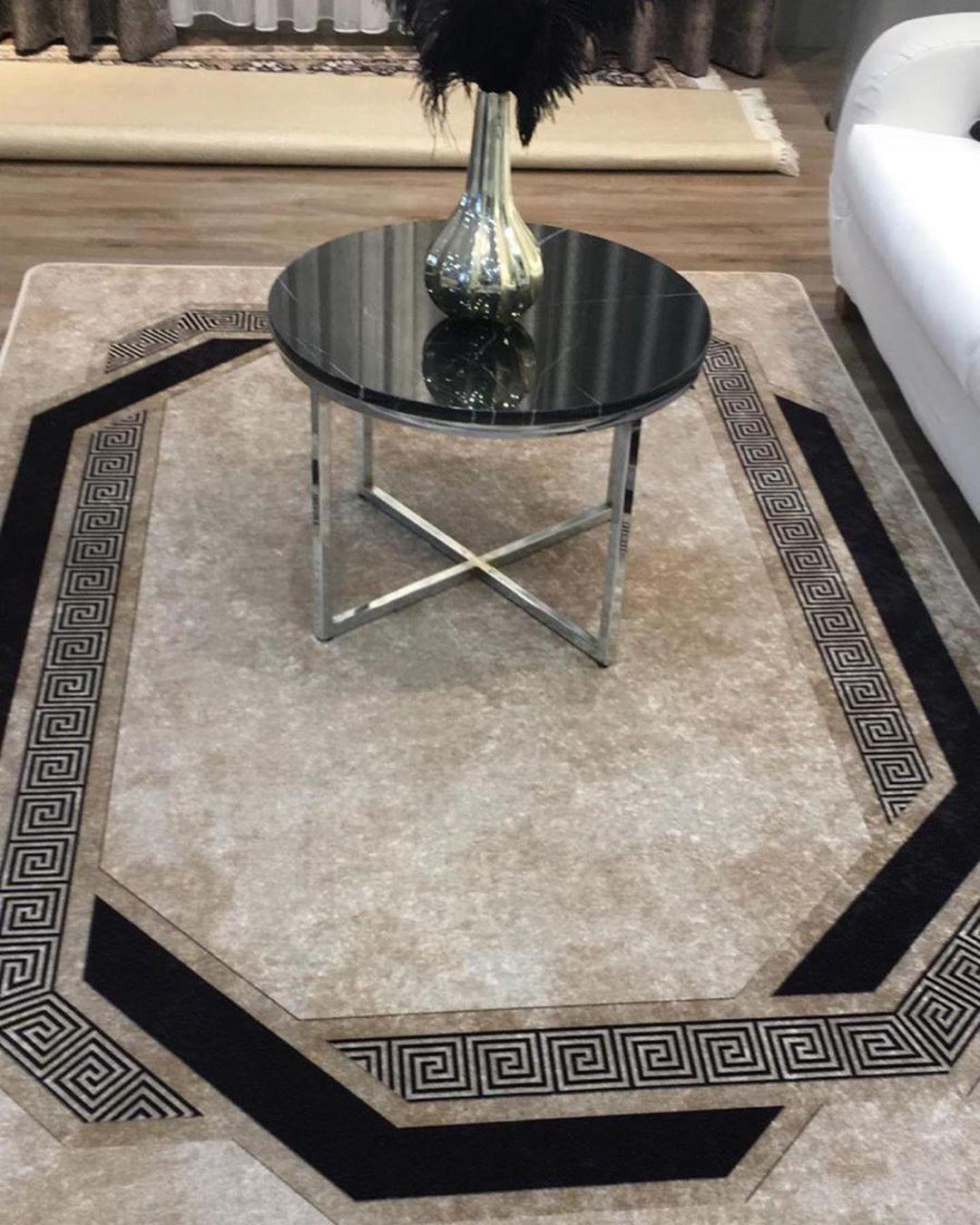 Teppich Hali Rugs Carpets Halimodelleri Versace Bej Siyah