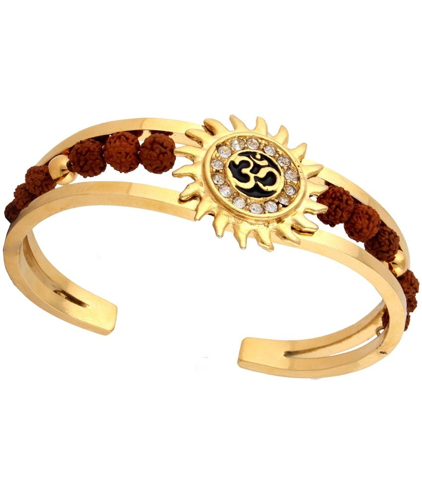 d72e0a91a0 The Jewelbox Rudraksh American Diamond Gold Meena Om Sun Men Cuff Kada  Bracelet