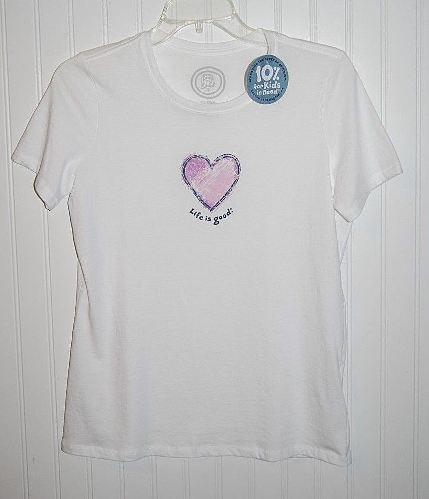 Life is Good Womens T Shirt Small S Short Sleeve NWT Crew Heart White #LifeIsGood #GraphicTee