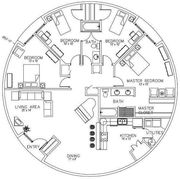 Monolithic Dome Home Designs: Monolithic Domes Floorplan. 50' Diameter, 1964 Sq Ft