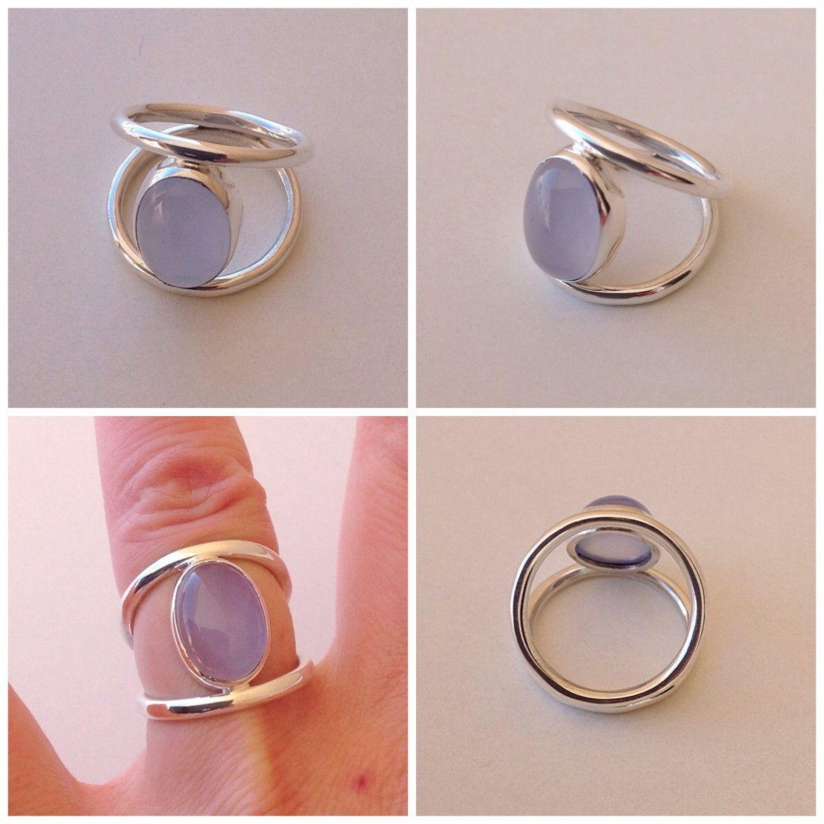 Anel Em Prata 950 Dois Aros Com Pedra Calcedonia Rings Jewelry