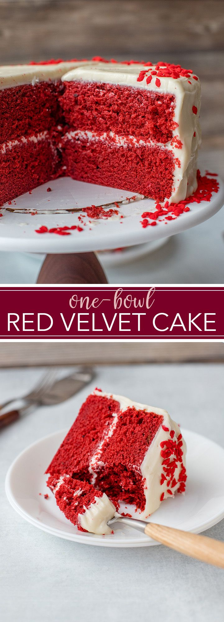 Making a delicious cake from scratch is easy with this one-bowl red velvet layer cake. Moist cake, a beautiful vibrant color, and the best sweet cream cheese frosting. #redvelvet #onebowl #layercakes via @nourishandfete