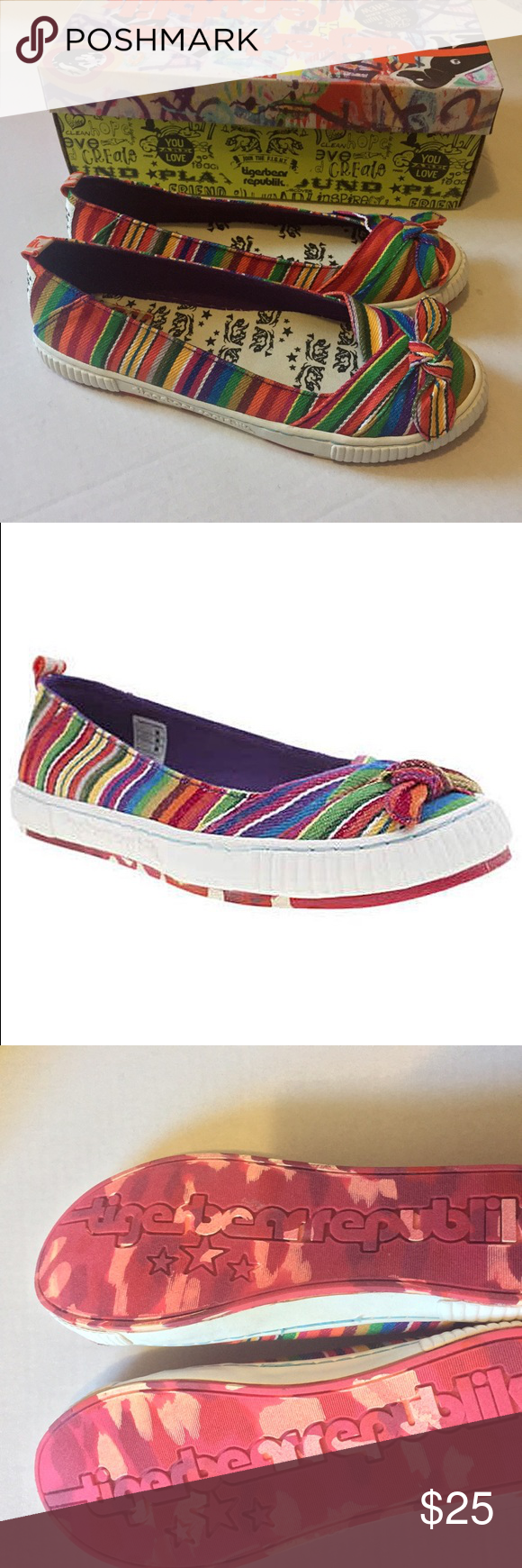 new in box Rainbow canvas flats brand new in box very vibrant canvas flats Tigerbear Republik Tease  Shoes Flats & Loafers