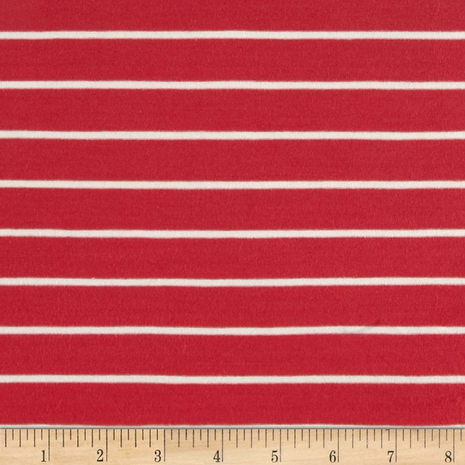 Stretch Bamboo Rayon Mariner Jersey Knit Stripe Coral/Off White Fabric