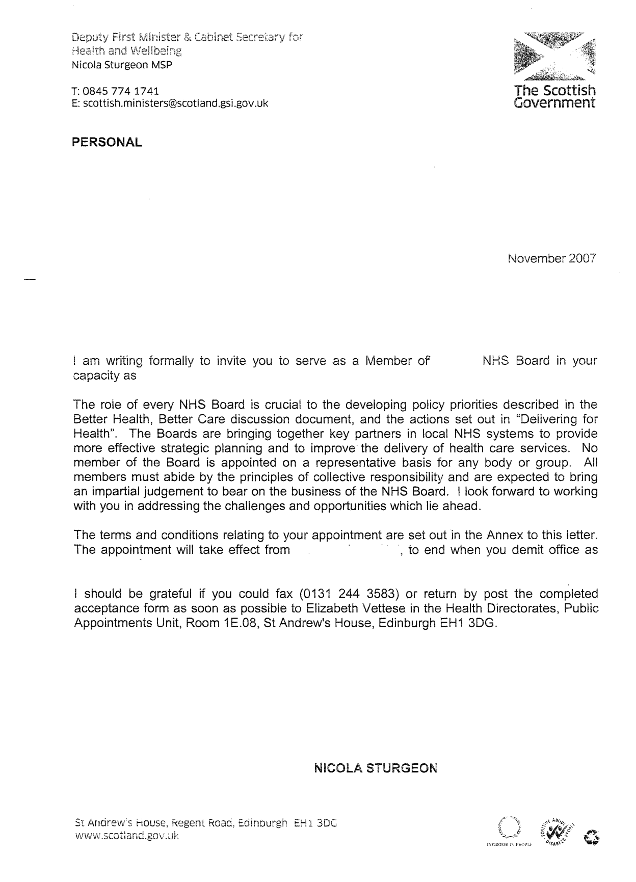 Nhs Appointment Letter Template