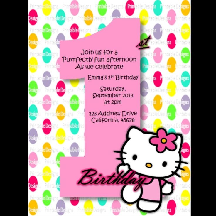 Download Now FREE Template Hello Kitty 1st Birthday Invitations – Personalized Hello Kitty Birthday Invitations