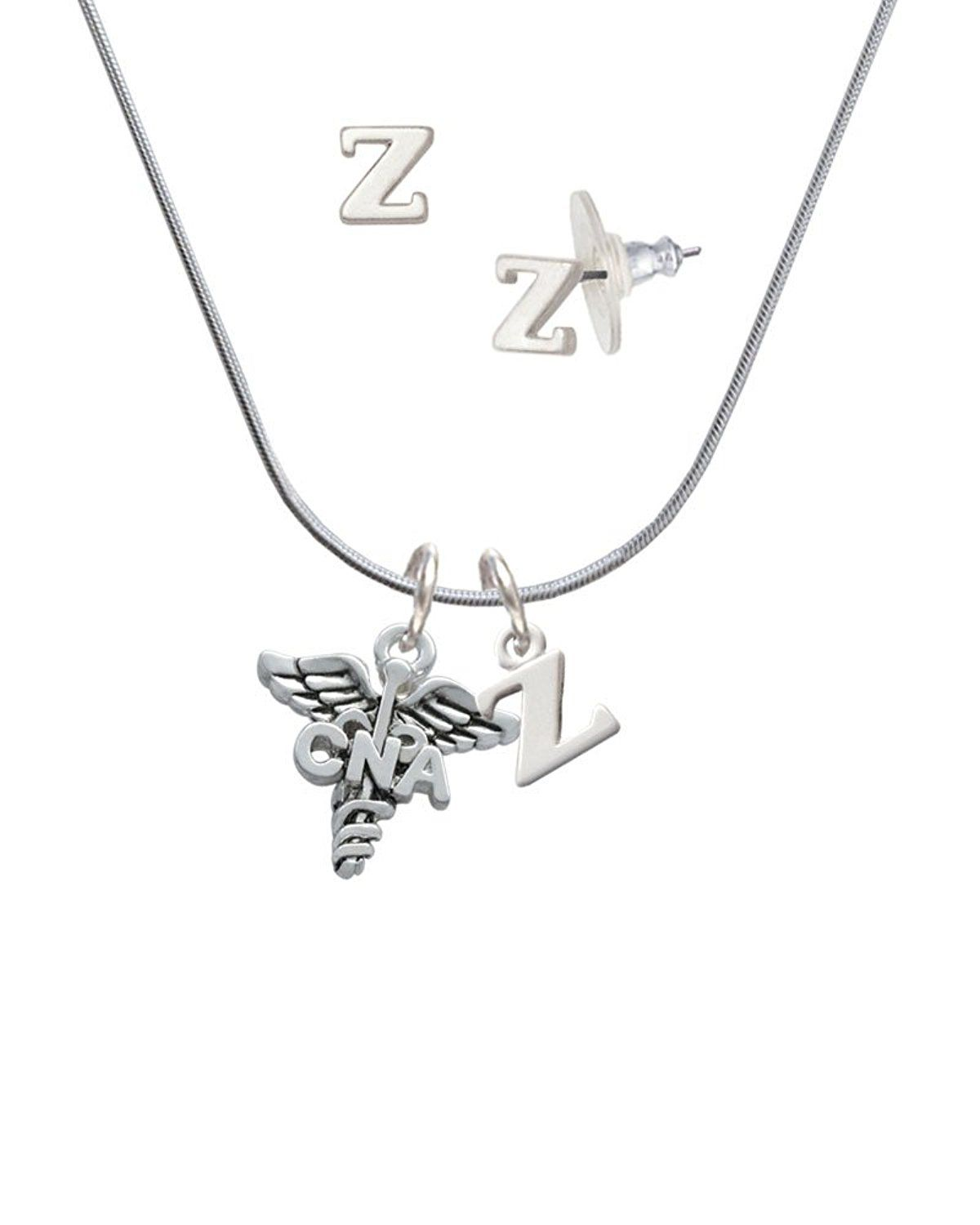 Caduceus cna z initial charm necklace and stud earrings jewelry