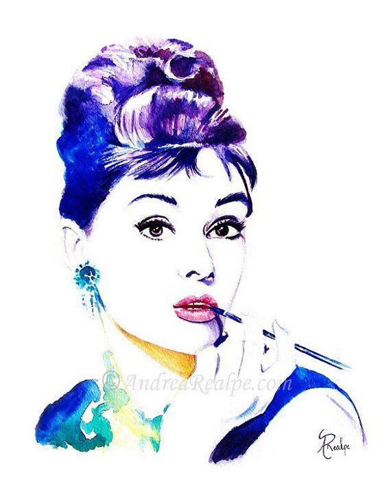 Audrey Hepburn Wall Art Prints, Audrey Hepburn Poster Print, Audrey Hepburn  Art, Audrey Hepburn Watercolor Painting, Celebrity Portraits