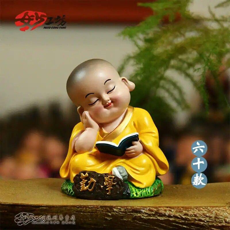 Little Monk Reading Statuette Buddha Painting Baby Buddha Buddha Art