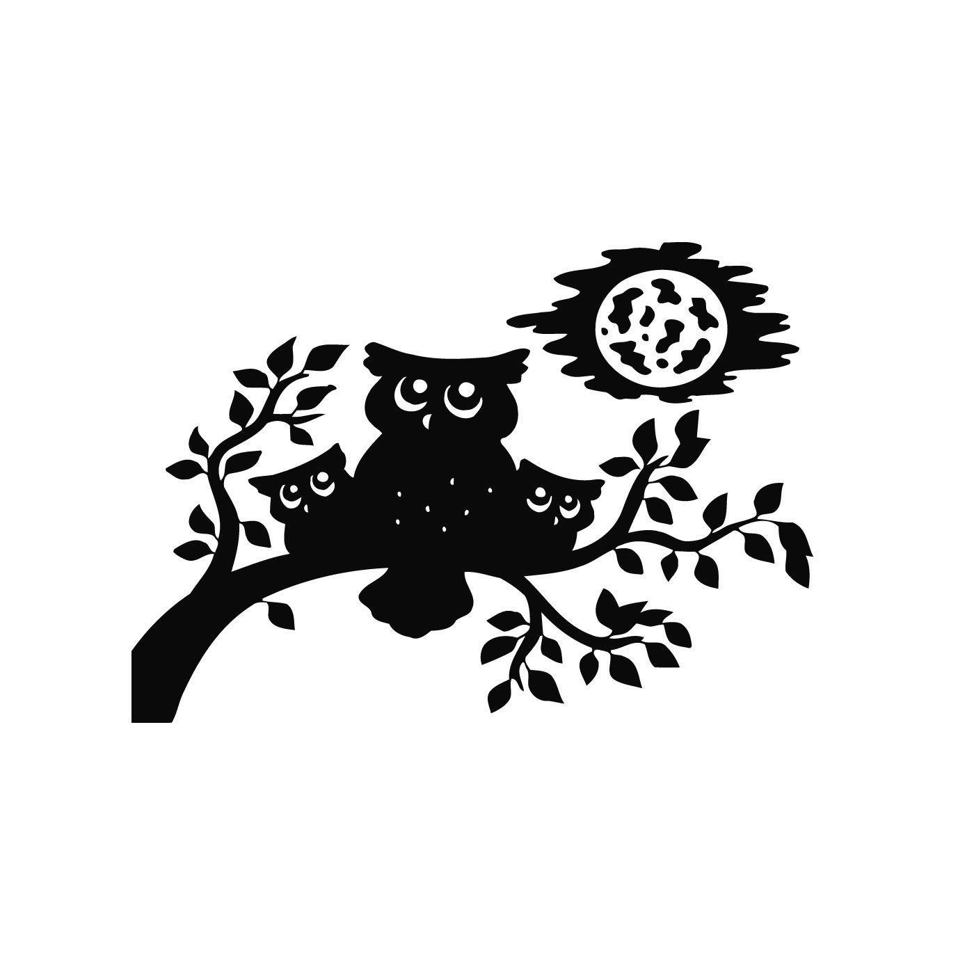Baby Owls Sitting On Tree Vinyl Wall Art