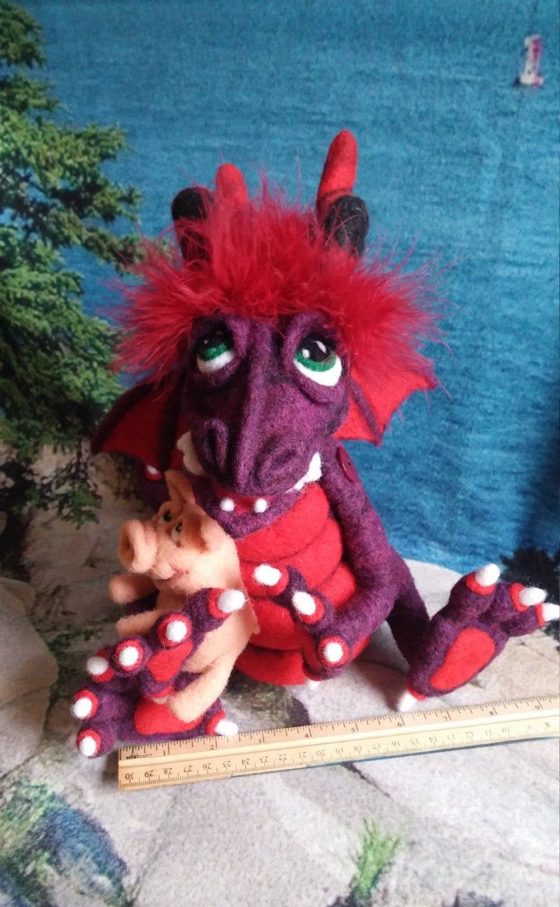 Dragon Soft Sculpture, Needle Felt Dragon and Pig, Handmade Dragon, Deep Purple and Red Dragon, Art Doll, Felted Dragon, OOAK Dragon
