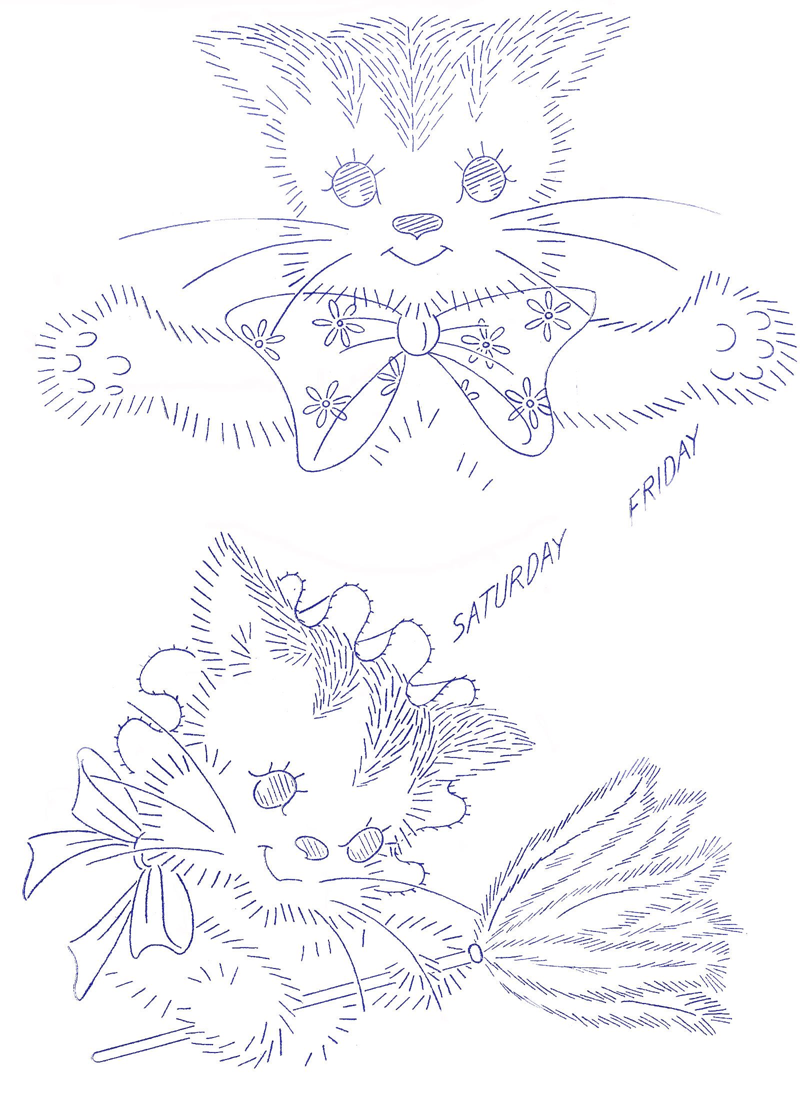 Vintage Embroidery Kittenface Dow Tea Towels Friday And Saturday