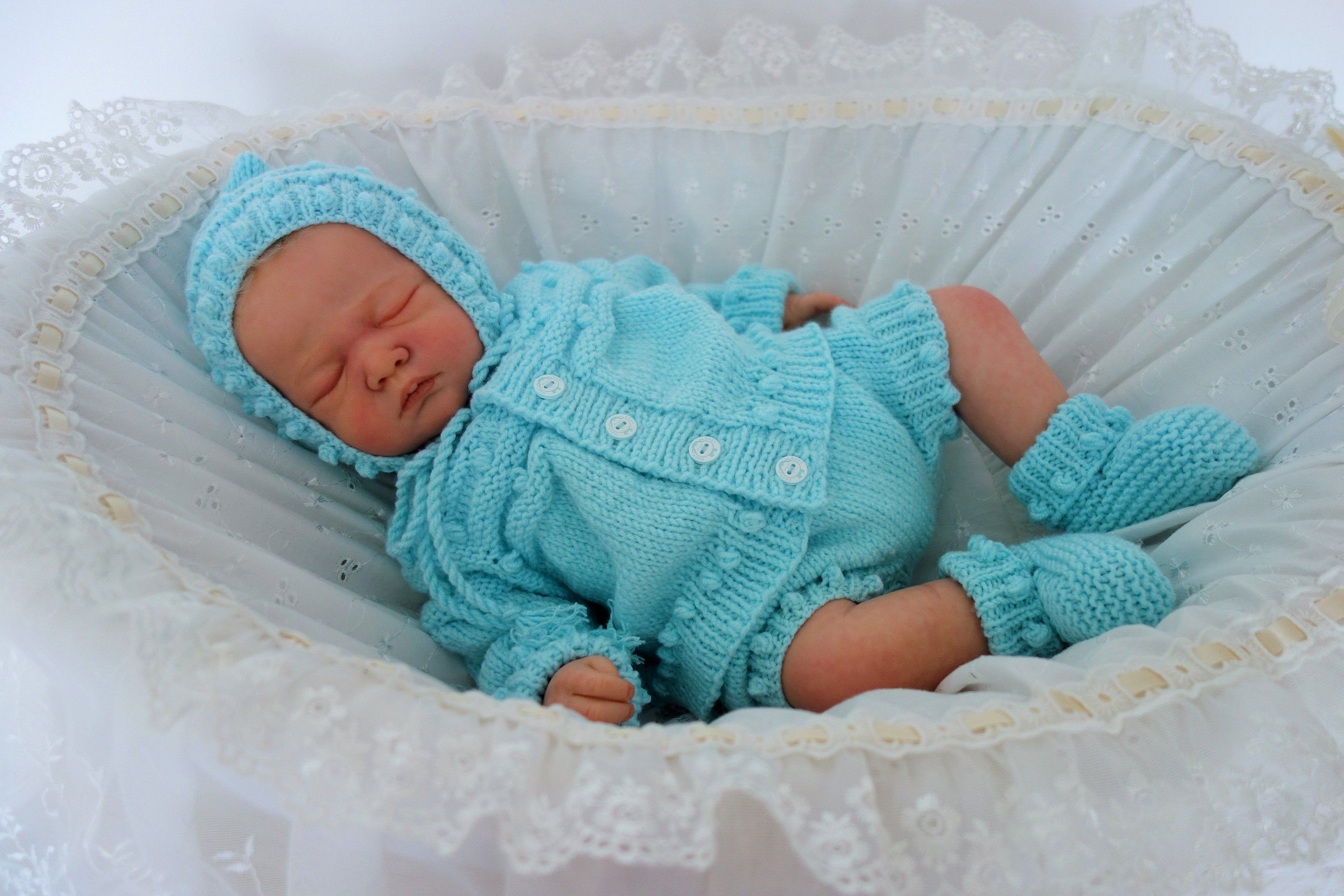 Hand Knit Teal with Mint Bow Baby Hat
