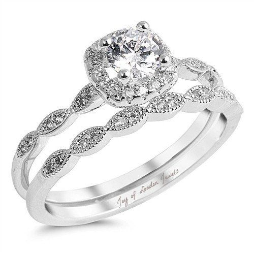 2a6ed77e6a3c2 1CT Round Cut Russian Lab Diamond Bridal Set Wedding Band Ring ...