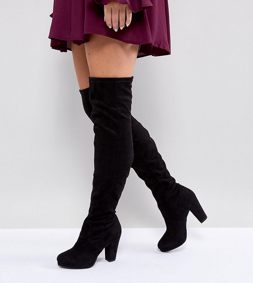 new authentic durable modeling big sale New Look Wide Fit Heeled Suedette Over The Knee Boot - Black ...