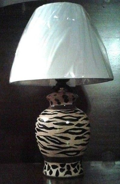 ZEBRA U0026 LEOPARD ANIMAL PRINT Table Lamp Browns With White Fabric Shade Any  Room #ZebraandLeopardPrint