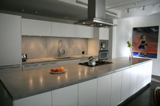 Modern Kitchen Countertops Background HD Wallpaper With Concrete ...