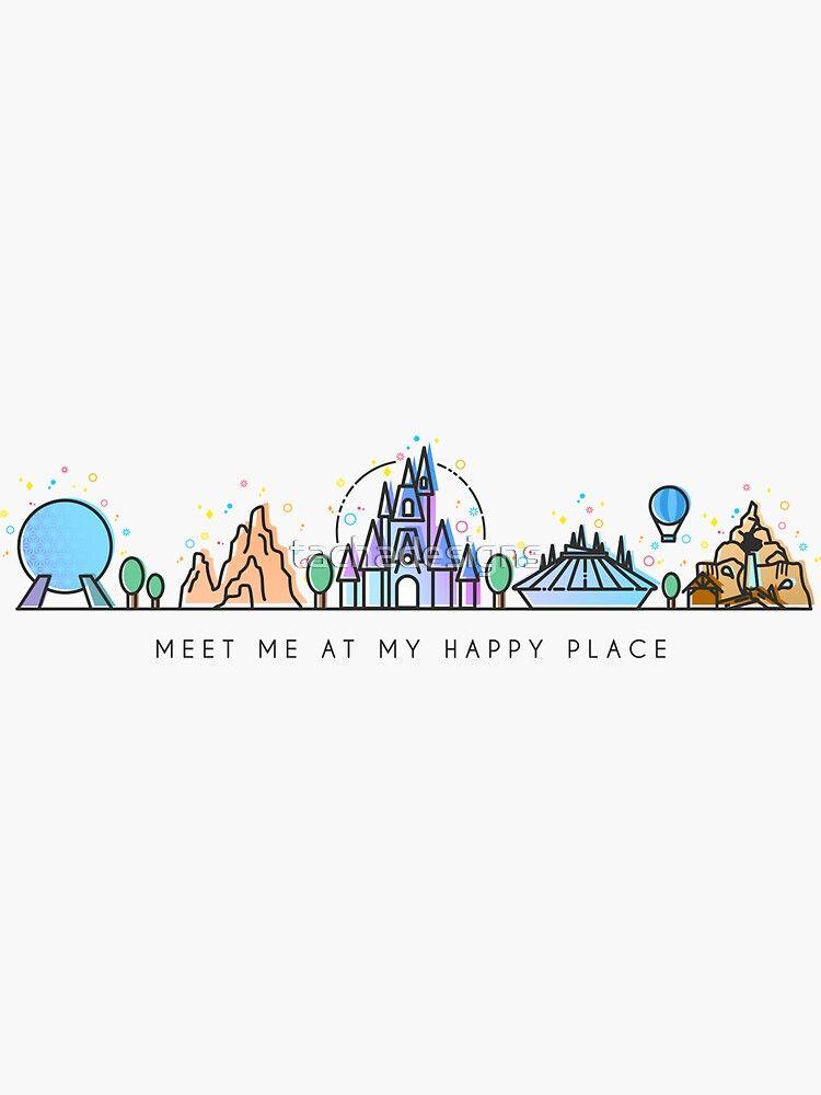 Meet me at my Happy Place Vector Orlando Theme Park Illustration Design Sticker