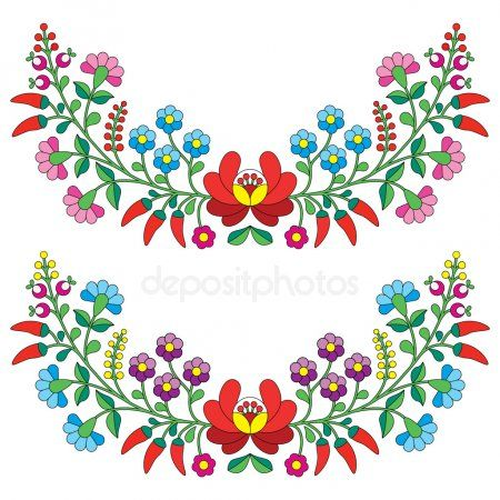 Photo of Hungarian folks floral sample – Kalocsai embroidery with flowers and peppers