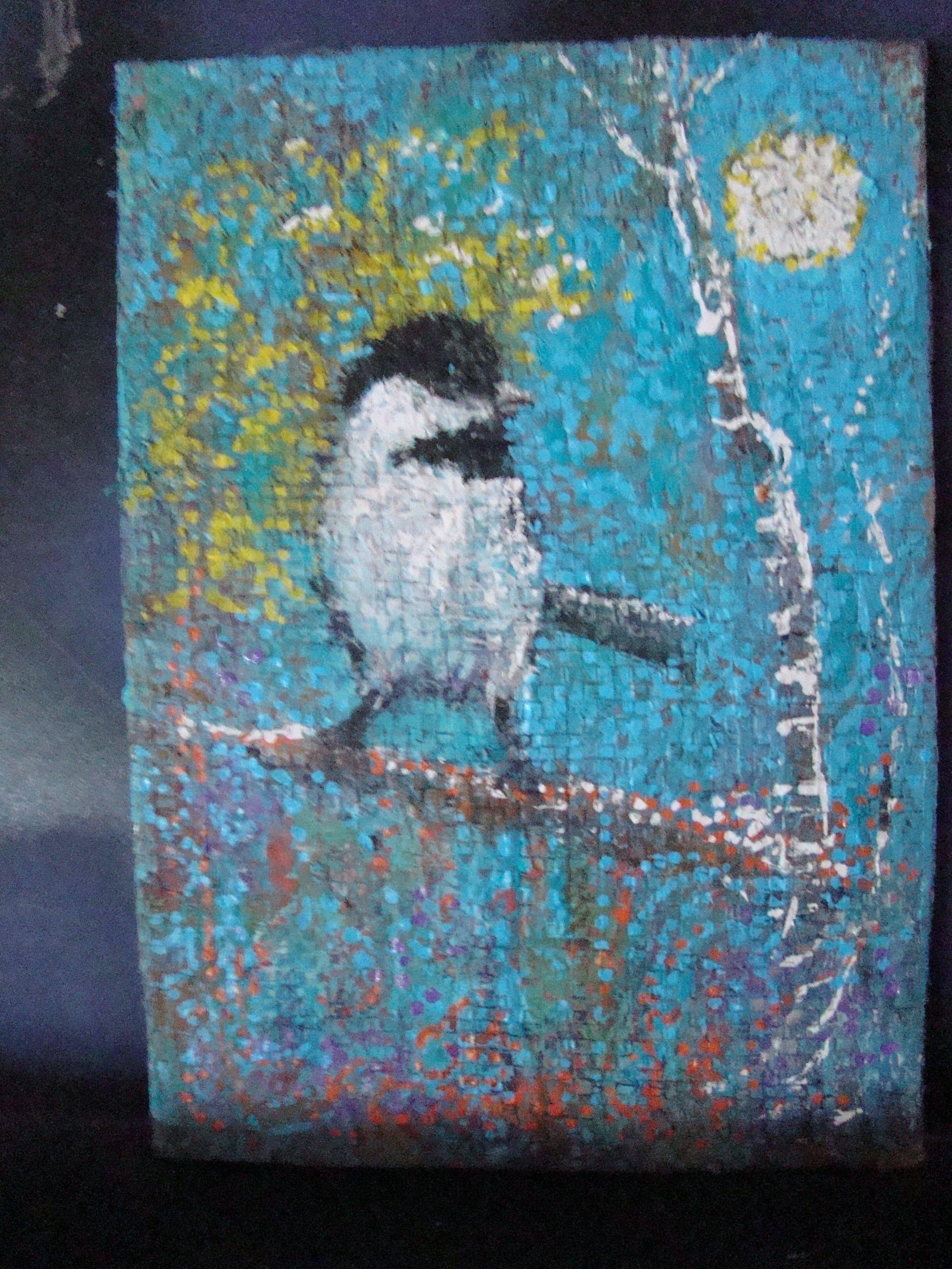 Janus chickadee on blue tarp our artwork pinterest artwork