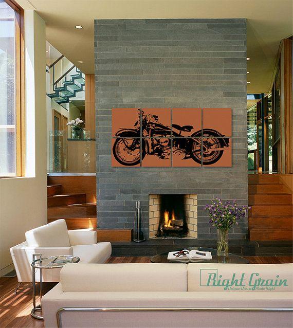 Large Vintage Motorcycle   Custom Harley Painting   24
