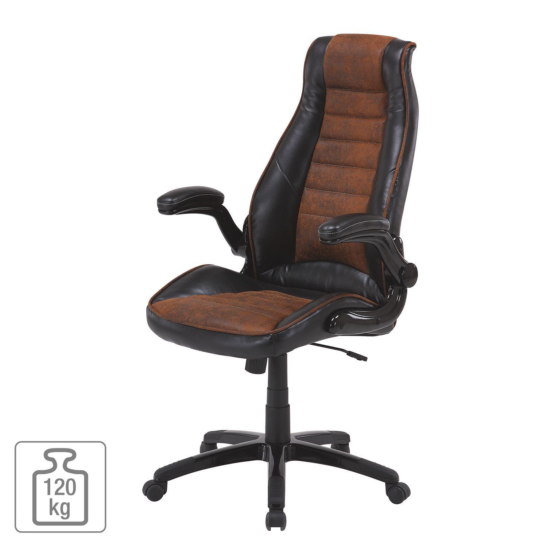 Bürostuhl Schreibtischstuhl Chefsessel mit Armlehnen braun Kunstleder Bürodrehst
