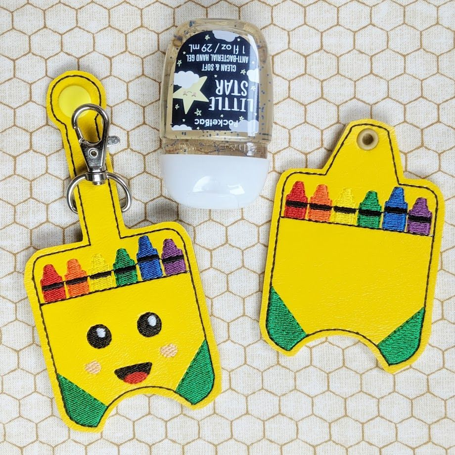 Crayon Box Hand Sanitizer Holder Key Fob Snap Tab July 2019