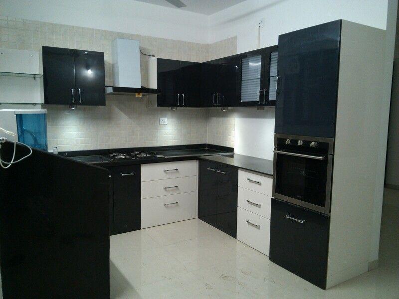 C Shaped Modular Kitchen Black White Kitchen Acrylic Kitchen