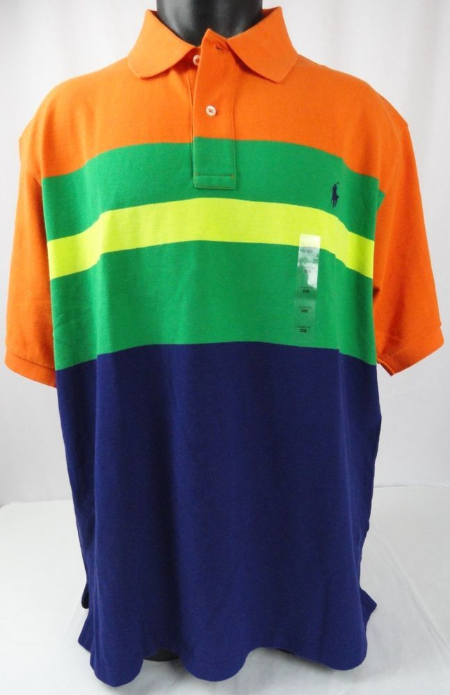 93a79e6f3 NWT Polo Ralph Lauren 2XB Polo Shirt Striped ColorBlock  Orange/Blue/Yellow/Green #PoloRalphLauren #PoloRugby