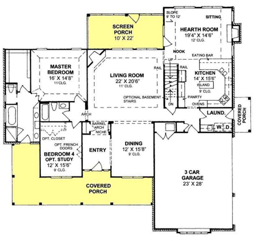 655905 4 bedroom 3 bath with screened porch and for House plans with hearth rooms