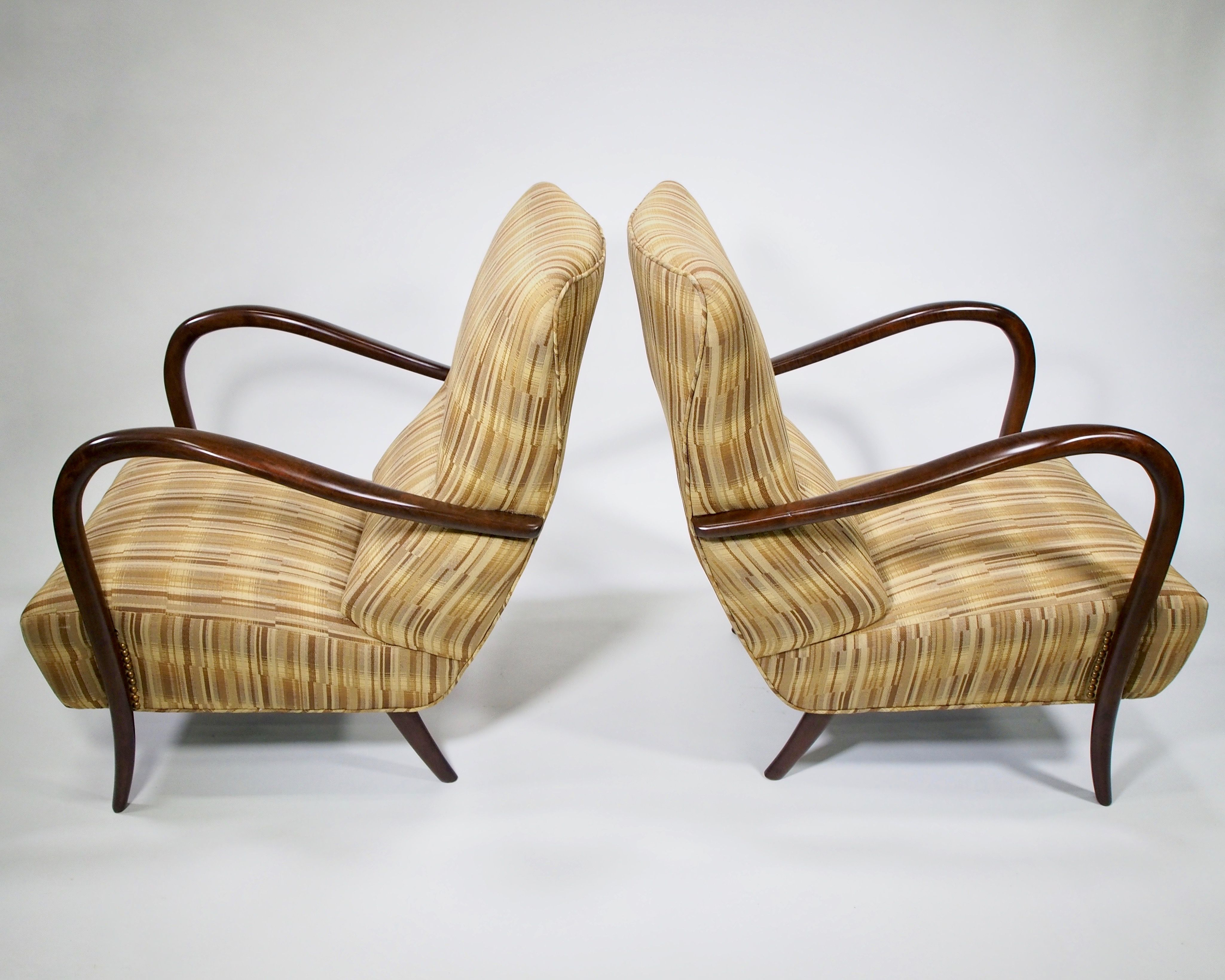 Pair Italian Mid Century High Back Chairs With Bentwood Frames Item 8187 High Back Chairs Chair Mid Century