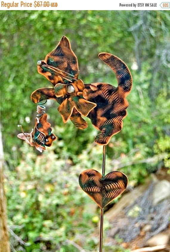 Merveilleux SALE Cat Garden Art Metal Yard Art Stake, Metal Garden Art, Copper, Pet