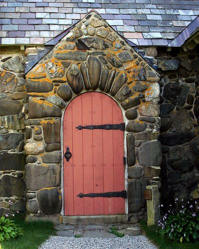 old church door at maine surrounded by stones from the sea. & old church door at maine surrounded by stones from the sea ...