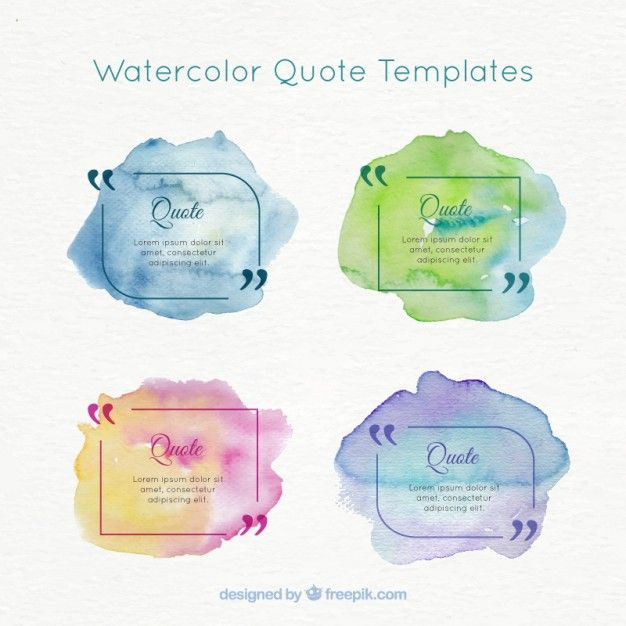 Watercolor Quote Templates Pack Free Vector  Luqman