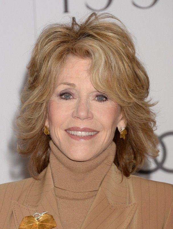 Jane Fonda Layered Shoulder Length Haircut for Women Over ...