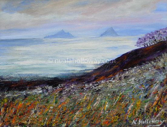 """Mystical Skellig Michael"" by Nuala Holloway - Oil on Canvas #SkelligMichael #SkelligRock #StarWars #IrishArt #Ireland #NualaHolloway"